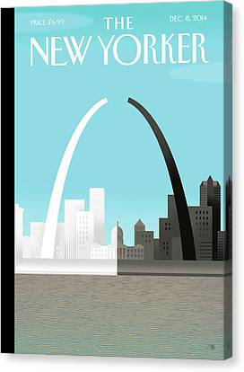 White Canvas Print - Broken Arch. A Scene From St. Louis by Bob Staake