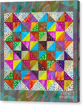 Broken Dishes - Quilt Pattern - Painting 2 Canvas Print by Barbara Griffin
