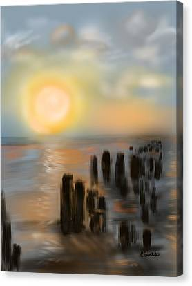 Canvas Print featuring the digital art Broken Dock by Christine Fournier