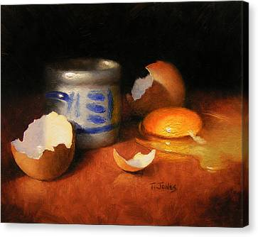 Broken Egg And Ceramic Canvas Print by Timothy Jones