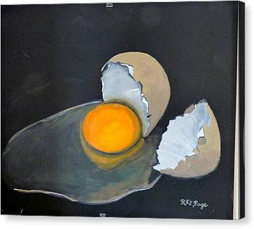 Canvas Print featuring the painting Broken Egg by Richard Le Page