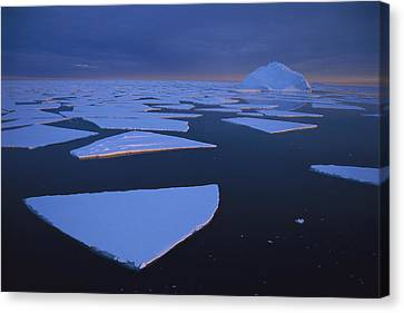 Broken Fast Ice Under Midnight Sun Canvas Print by Tui De Roy