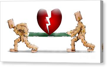Broken Heart Carried On A Stretcher By Box Men Canvas Print