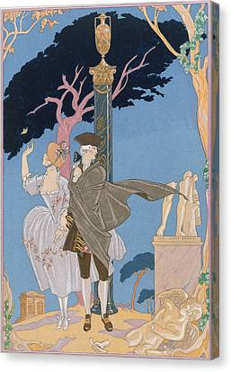 Broken Hearts Broken Statues Canvas Print by Georges Barbier