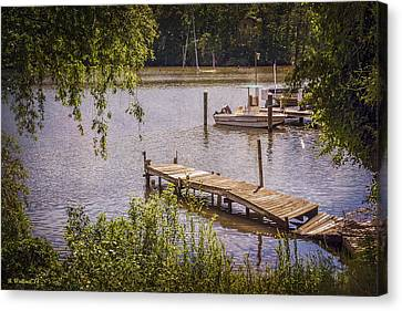 Broken Pier And Sunken Boat Canvas Print by Brian Wallace