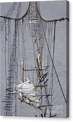 Broken Suspension Bridge Across The Hunza River In Pakistan Canvas Print by Robert Preston