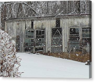 Broken Windows In The Snow Canvas Print by Sharon Costa
