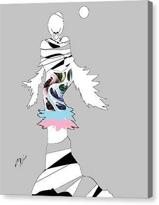 Canvas Print featuring the digital art Broken Wings 3 by Ann Calvo