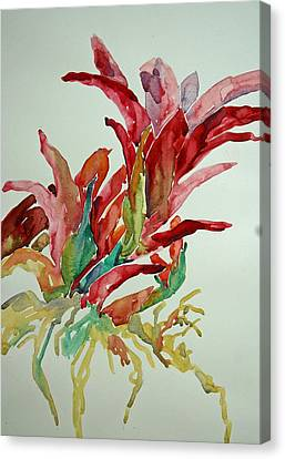 Canvas Print featuring the painting Bromeliad #2 by Roger Parent