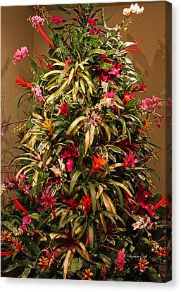 Bromeliad And Orchid Tree Canvas Print