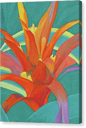 Canvas Print featuring the painting Bromeliad Glow by Margaret Saheed