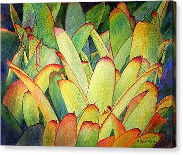 Canvas Print featuring the painting Bromeliads I by Roger Rockefeller