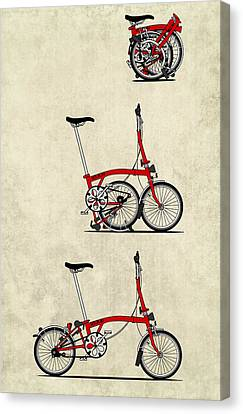 Vintage Bicycle Canvas Print - Brompton Bicycle by Andy Scullion