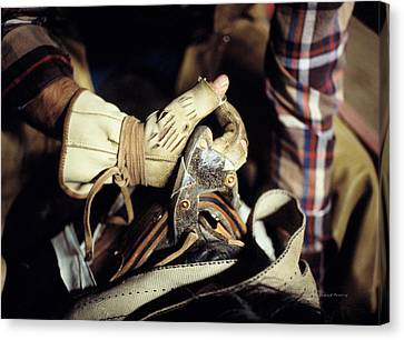 Bronc Rider Grip Canvas Print by Leland D Howard