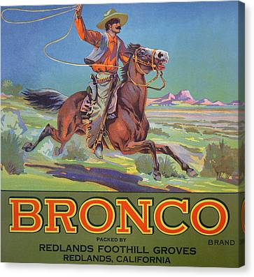 Jumping Horse Canvas Print - Bronco Oranges by American School