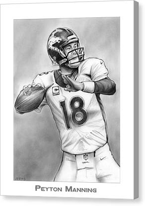 Broncos Peyton Manning Canvas Print by Greg Joens