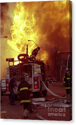 Canvas Print featuring the photograph Bronx Gas Explosion-1 by Steven Spak