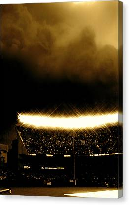 Bronx Storm Yankee Stadium  Canvas Print by Iconic Images Art Gallery David Pucciarelli
