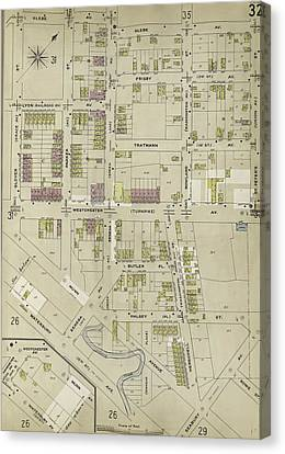 Bronx, V. A, Plate No. 32 Map Bounded By Glebe Ave Canvas Print by Litz Collection