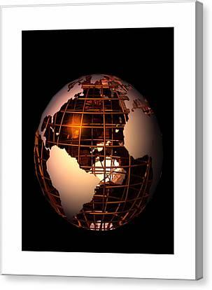 Canvas Print featuring the digital art Bronze Globe... by Tim Fillingim