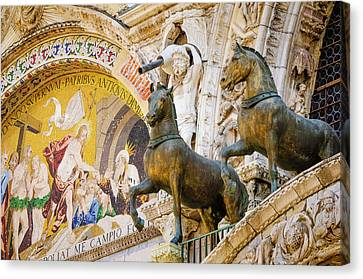 Bronze Horses And Mosaic Canvas Print