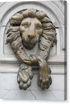 Canvas Print featuring the photograph Bronze Lion by Pema Hou