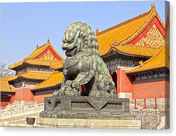 Bronze Lioness Forbidden City Beijing Canvas Print by Colin and Linda McKie