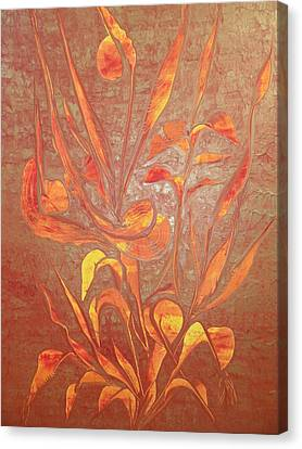 Canvas Print featuring the painting Bronze by Nico Bielow