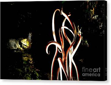 Bronze Reeds And Waterfall Canvas Print by Edna Weber