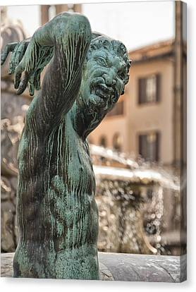 Bronze Satyr In The Statue Of Neptune Canvas Print by Melany Sarafis