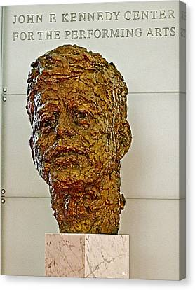 Bronze Sculpture Of President Kennedy In The Kennedy Center In Washington D C  Canvas Print by Ruth Hager