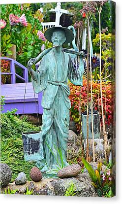 Maui's Ali'i Lavendar Farm - Bronze Statue Of Chinese Man Carrying Water Canvas Print