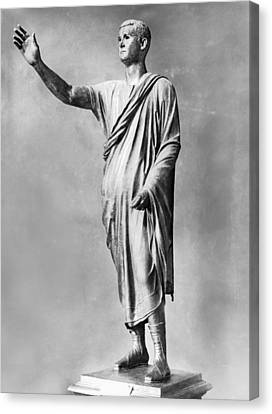 Bronze Statue Of the Orator Canvas Print by Underwood Archives