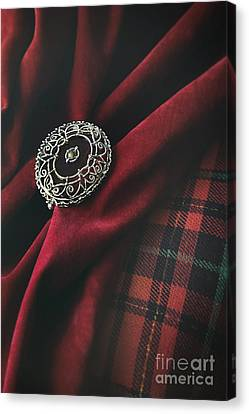 Brooch With Red Velvet And Green Plaid Canvas Print by Sandra Cunningham