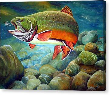 Brook Trout Breakfast Canvas Print by Alvin Hepler
