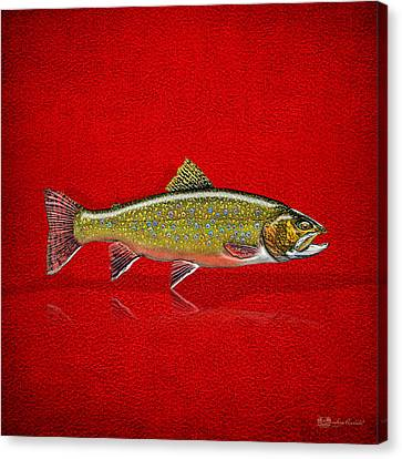 Speckled Trout Canvas Print - Brook Trout On Red Leather by Serge Averbukh