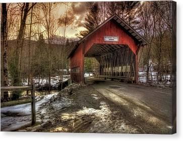 Brookdale Covered Bridge - Stowe Vt Canvas Print by Joann Vitali