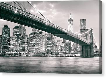 Brooklyn Bridge And New York City Skyline At Night Canvas Print by Vivienne Gucwa