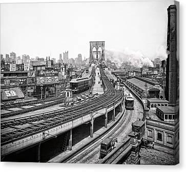 Brooklyn Bridge And Terminal - 1903 Canvas Print