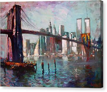 Brooklyn Bridge And Twin Towers Canvas Print by Ylli Haruni