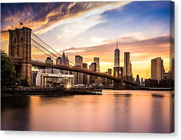 Brooklyn Bridge Canvas Print - Brooklyn Bridge At Sunset  by Mihai Andritoiu