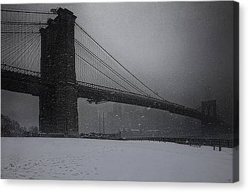 Brooklyn Bridge Blizzard Canvas Print