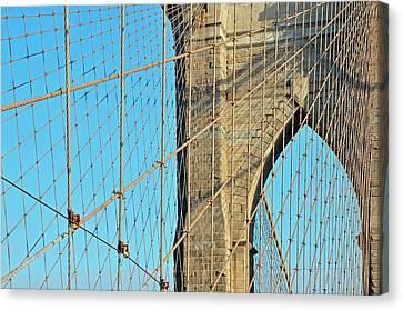 Brooklyn Bridge Cables Canvas Print by Paul Van Baardwijk