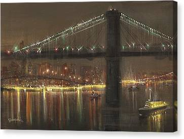 Brooklyn Bridge Cruciform Canvas Print by Tom Shropshire