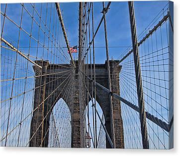 Canvas Print featuring the photograph Brooklyn Bridge by David Gleeson