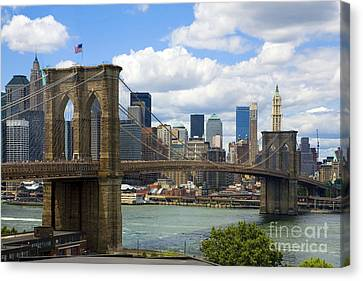 New York City Skyline Canvas Print - Brooklyn Bridge by Diane Diederich