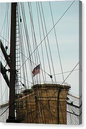 Brooklyn Bridge Flag Canvas Print