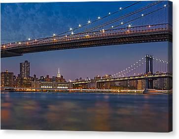Brooklyn Bridge Frames Manhattan Canvas Print by Susan Candelario