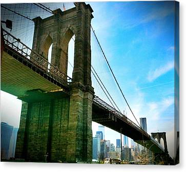 Brooklyn Bridge Glow Canvas Print by Frank Winters
