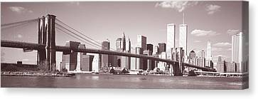 Brooklyn Bridge, Hudson River, Nyc, New Canvas Print